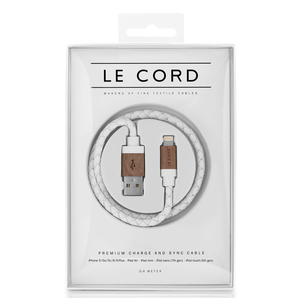 Le Cord - White Leather Dark Wood - 0.4 Meter