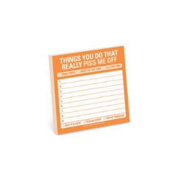 Knock Knock - Sticky Note: Things You Do That Really Piss Me Off