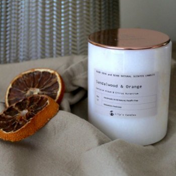 Lily's Candles - Sandalwood & Orange Marble Natural Candle