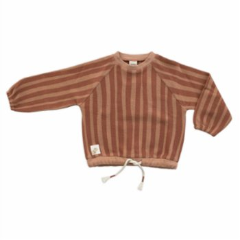 Auntie Me - Organic Brick Red Irregular Stripes Sweatshirt