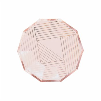 Harlow&Grey - Manhattan - Pale Pink Striped Small Paper Plates 8Set