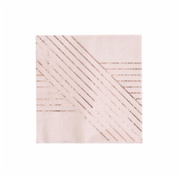 Harlow&Grey - Amethyst - Pale Pink Striped Cocktail Paper Napkins
