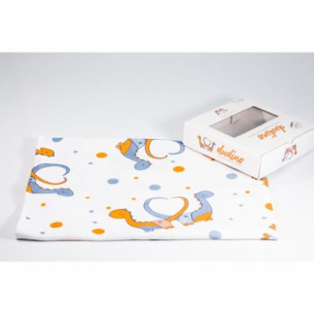 Dudino - Muslin Swaddle Blankets - Set Of 3 - Dudino & Orange & Dino Feet