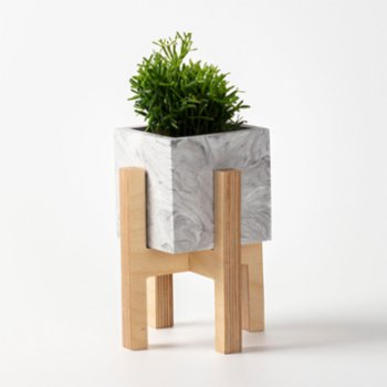 Womodesign - Concrete Flowerpot With Wooden Base