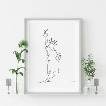 Fabl - The Statue of Liberty In A Single Line Baskı