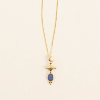Mi Mujer Atelier - Crescent  With Blue Opal Charm