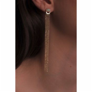 Mi Mujer Atelier - Crescent And Chains Earring & Fire Opal