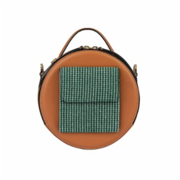 Baa - Lotte Brown Leather With Green Fabric