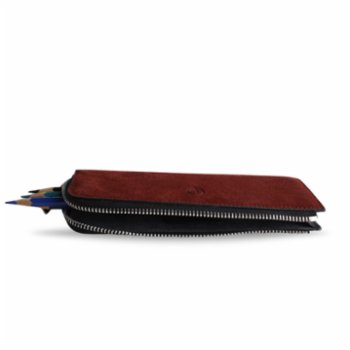 Bustha - Earth C Zip Pen Flat Zipper Suede Pencil Case