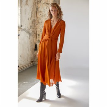 Urban Muse - Midi Dress With Front Tie