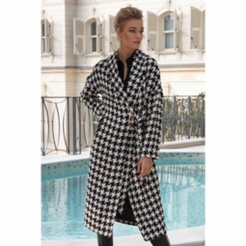 Semplice - Diana Double Breasted Gingham Wool  Coat