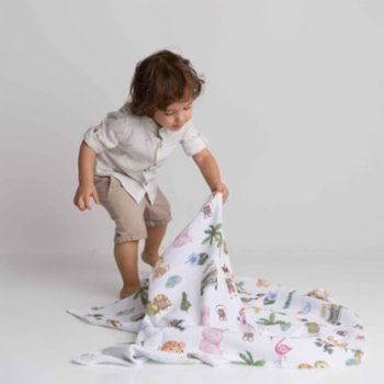 Bebe Bellota - Safari 2 Layer Organic Baby Muslin Sweddle