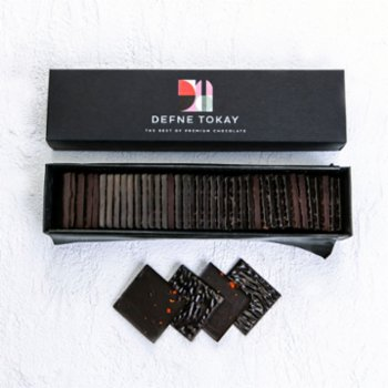 Defne Tokay Premium Chocolate - Orange & Red Pepper 40 Peaces Thins Milk - Free Chocolate