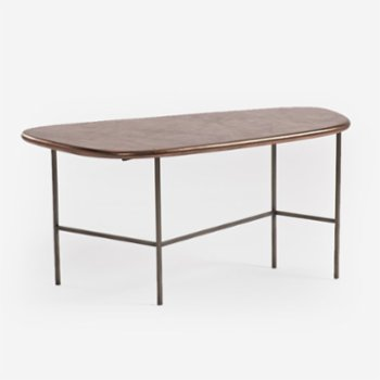 Estetik Decor - Triat Grey Leather Coffee Table
