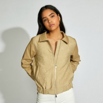 Faund - Zip Up Quilted Bomber Jacket