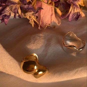 Pikaya Jewellery - In Flow Ring Gold Plated Sterling Silver