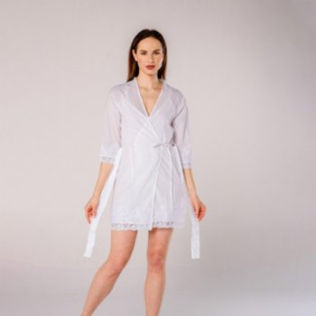 Miespiga - Pearl Voile Lace Women's Nightgown and Dressing Gown Set