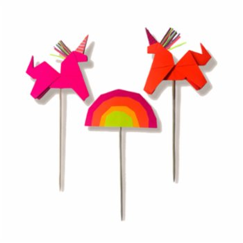BalinMandalin - Unicorn and Rainbow Origami Cake Topper, 3 in a package