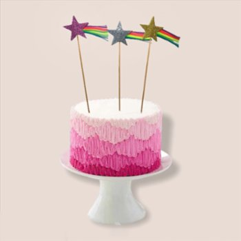 BalinMandalin - Shooting Stars Origami Cake Topper, 3 in a package
