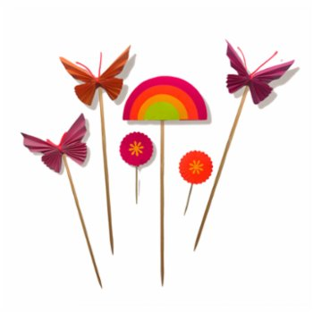 BalinMandalin - Pink Butterfly and Rainbow Origami Cake Topper, 6 in a package Pink-Orange