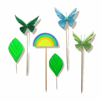 BalinMandalin - Blue Butterfly and Rainbow Origami Cake Topper, 6 in a package Green-Blue
