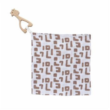 Piccolo Republic - Ethnic Handkerchief with Wooden Teether