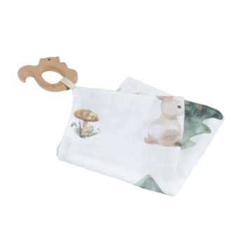 Piccolo Republic - Forest Handkerchief with Wooden Teether