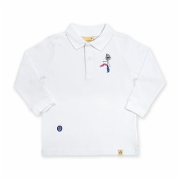 Beetle Beez - White Funny Scribble Man | Long-Sleeve embroidered Polo T-Shirt
