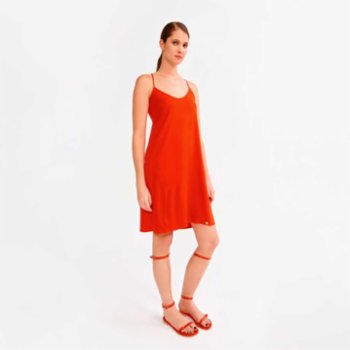 Lords X Lilies - Short Viscose Dress With Shirred Collar And Thin Straps