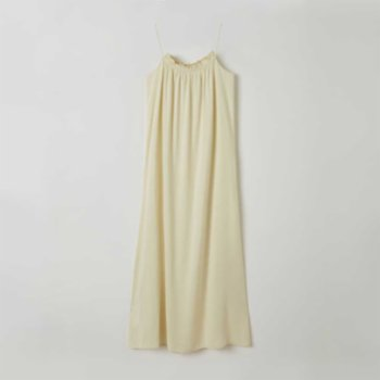 Lords X Lilies - Long Viscose Dress With Shirred Collar And Thin Straps