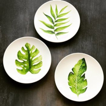 SuGibi - Green Leaves Wall Plates