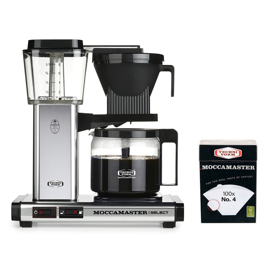 Moccamaster - Select Filter Coffee Machine Glass Pot with Filter Paper