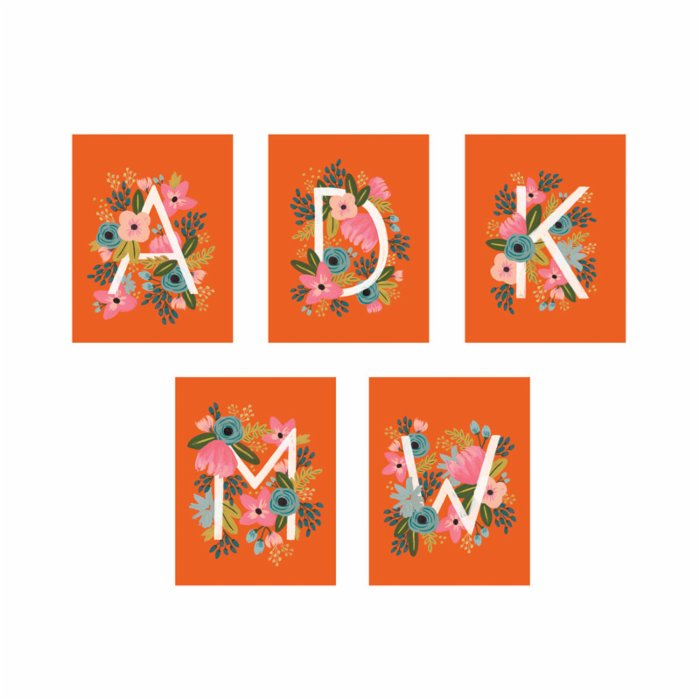 Rifle Paper Co. 8 Floral Monogram Flat Cards - Letter A
