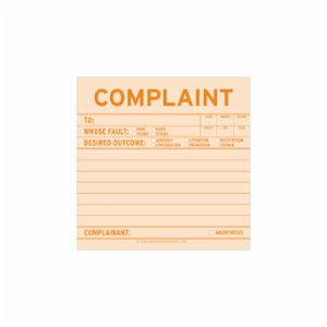 Knock Knock  Sticky Note: Complaint