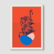 Action Zebra	  Flamingo Art Print