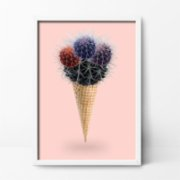 Action Zebra	  Cactus Cream Art Print