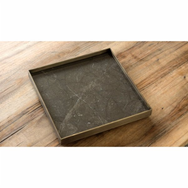 Marmore Antique Brass Tray