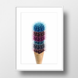 Action Zebra	  Endless Cactus Cream Art Print