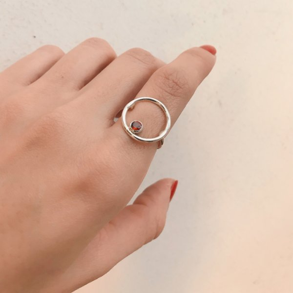 Caged Bird Design Moon Ring