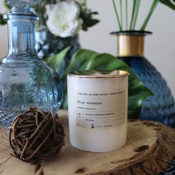 Lily's Candles  Blue Anemone Marble Natural Candle
