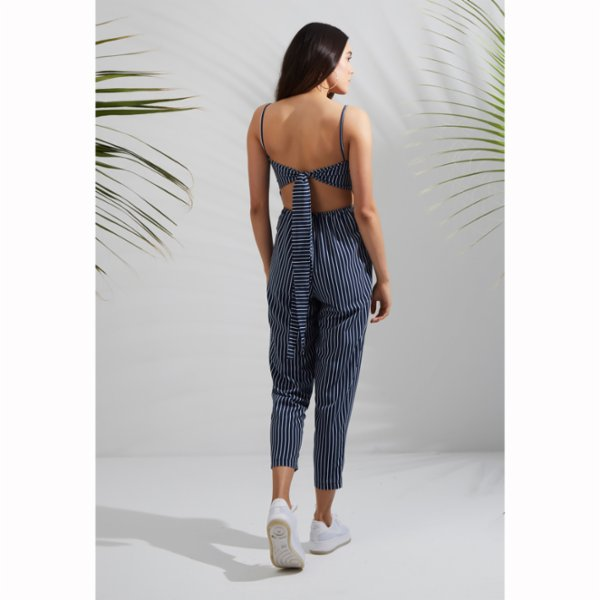 C-ya Don't Panic Stripe Jumpsuit-Bag Set