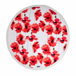 Sunday Funday  Floral Round Beach Towel Roundie