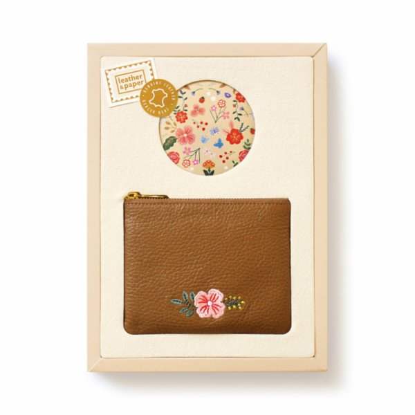 Leather & Paper Purse And Pocket Mirror Set