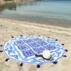 Sunday Funday Damask Round Beach Towel Roundie