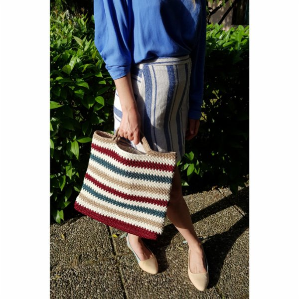 Mien İstanbul Knitted Colorful Stripe Handbag