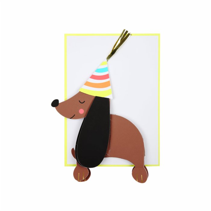 Meri Meri Honeycomb Sausage Dog Card