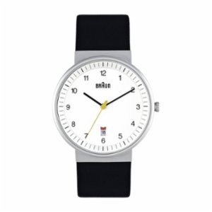 Braun  Classic Analog Watch White Display and Black Band
