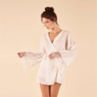 Night And Mild Lace Detailed Crinkle Robe