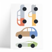 Pop by Gaea  Bicolor Cars Wall Sticker