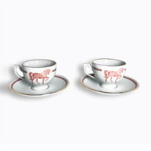Some Home İstanbul  Horse Luck Red Turkish Coffee Cup Set